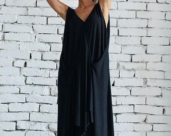 SALE Loose Maxi Black Dress / Oversize Draped Maxi Dress / Casual Asymmetric Dress / Long Black Summer Dress by METAMORPHOZA