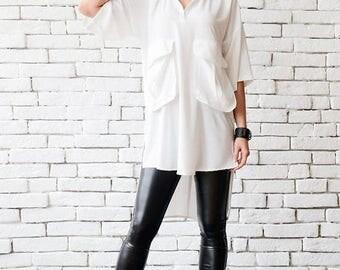 ON SALE White Plus Size Shirt/Extravagant Asymmetric Tunic/Half Sleeve Oversize Long Top/White Maxi Tunic/Comfortable Work Shirt/Half Sleeve