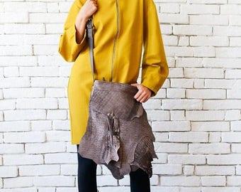 SALE Asymmetric Brown Bag/Extravagant Torn Off Effect Leather Bag/Casual Shoulder Bag/Genuine Leather Tote/Modern Brown Purse/Brown Designer