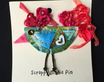Arty Pin, Scrappy Bird pin, Unique Bird Pin, Fabric pin, quilted pin, Mother's Day pin, bird ornament, Bird Ornament, Scrappy Birdie Pin #3