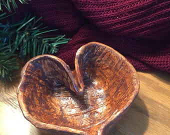 Handcrafted Handmade Pottery Ceramic Heart Shaped Vessel Bowl in Wood Grain Lead-Free