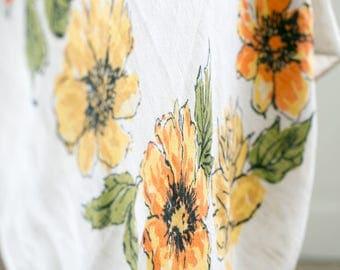 Linen floral table cloth