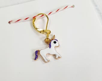 Magical Unicorn Progress Keeper Marker Stitch Marker - 6mm lever back (gold toned) PK0011