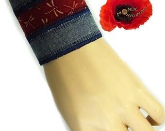 Japanese fabric and denim Cuff Bracelet