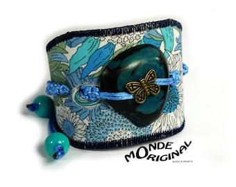 Leather fabric bracelet liberty small Susanna blue tagua