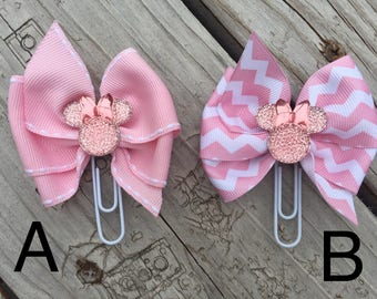 Sparkling Pink Minnie Mouse Disney Planner Bow Clip