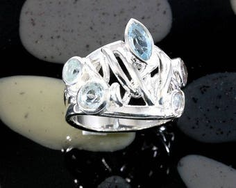 Blue topaz and silver, ring - 2628