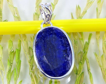 Sapphire in 925 sterling silver pendant-sapphire and silver, pendant--4064