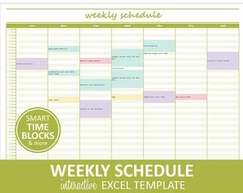 Elegant Weekly Schedule - Green | Weekly Planner Printable | Excel Planner Template | Weekly Schedule | Instant Digital Download