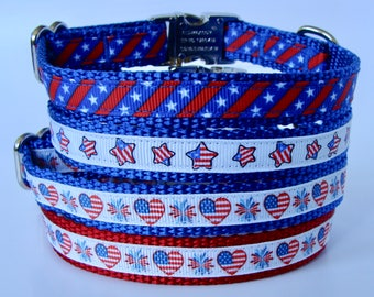 XS Patriotic Dog Collar with Metal Buckle - Ready to Ship!