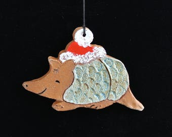 Armadillo Christmas Ornament, Terra Cotta Clay, Handmade Hand Painted by Western Artist, Karlene Voepel