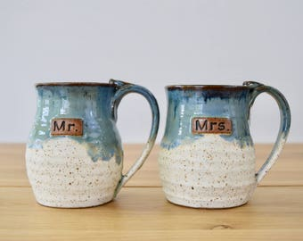 PERSONALIZED Collection: Mug set Mr. and Mrs., Mister and Misses mugs set. Large mugs can hold at approx. 16 Oz and more.