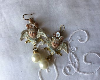 Rococo cherub earrings ,Soft Cherubs rare bisque angel,flowers garland , vintage porcelain roses, baroque pearl