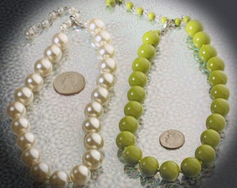 Lot of Two Glass Pearl & Avocado Green Retro Vintage Choker Necklaces