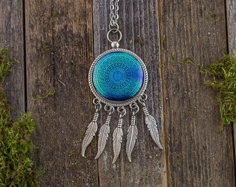 Blue Mandala Pendant / Jewelry / Dreamcatcher/ Handmade Jewelry/ Glass Art/ Necklace/ Chain Necklace/ Unique Gift/ Handmade Gift/ Feather