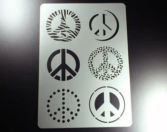 Stencil peace Symbol 6 motives-BA24