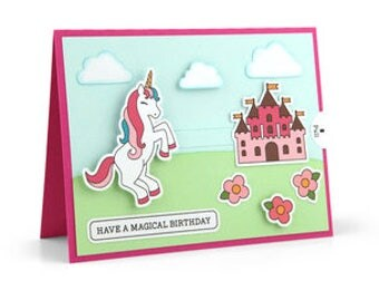 Moveable Unicorn Card , Blank inside , Castle , Flowers , Magical , Clouds , Kids , Birthday , Girls