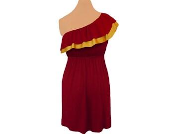 Deep Red + Gold One-Shoulder Dress