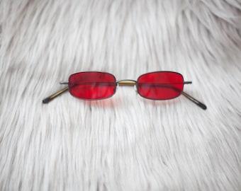 Red Vintage Style Sunglasses / Red Sunglasses / Vintage Sunglasses
