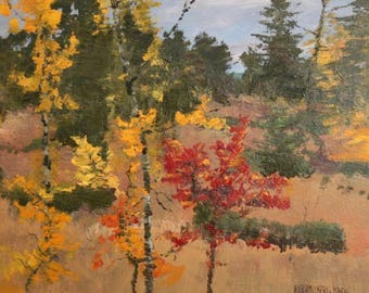 1952 European art impressionist oil painting landscape signed