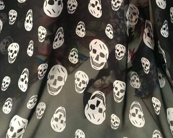 fabric skull chiffon black white 6 m