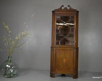 Edwardian Astragal Glazed Corner Cabinet