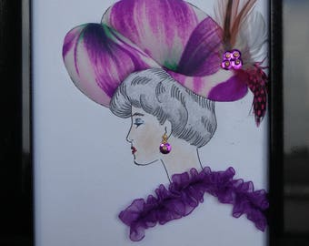 """Painting """"Lady with hat"""" harmony of pink and purple"""