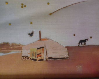"table ""yurt"" @evysoie silk painting"