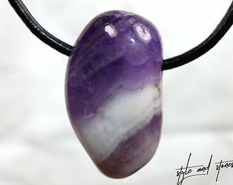 Amethyst on leather strap / cotton cord (necklace)