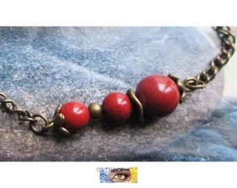 "Chakra - (root Chakra) - 1 chain bracelet ""Abundance and Protection"" - red Jasper on antiqued bronze beads"