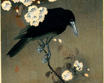 Crow and blossom by Ohara Koson Home Decor Wall Decor Giclee Art Print Poster A4 A3 A2 Large Print FLAT RATE SHIPPING