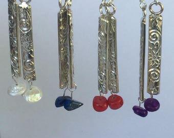 Sterling Silver patterned stick earrings