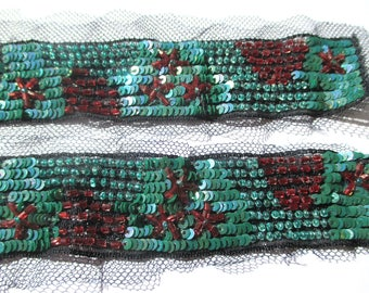 SMALL BLACK LACE TRIM REBRODE SEQUIN AND PEARL IRIDESCENT EMERALD AND MAHOGANY 2.8/12 INCHES