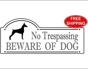 "Doberman, No Trespassing BEWARE OF DOG Sign 3 3/8"" x 7 7/8"" - Free Shipping"
