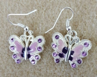 Purple butterfly earrings