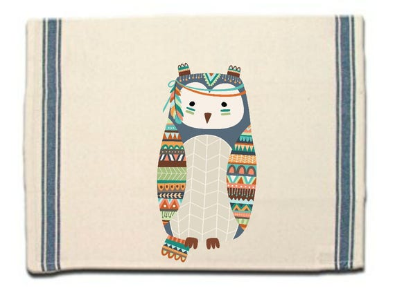 Tribal Owl Kitchen Towel, Dish Towel, Tea Towel, Flour Sack Material,Woodland Animals Dish Towels,Flour Sack Kitchen Towel, Dish Cloth