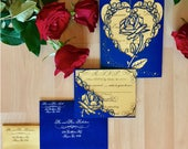 Beauty and the beast inspired rose gatefold laser cut invitation with matching laser cut RSVP card suite be our guest