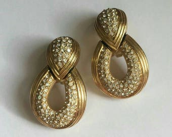Christian Dior Pave Door Knocker Earrings Crystal  Rhinestone Goldtone Designer Haute Couture Drop Dangle Big Chunky Authentic SUPER RARE!