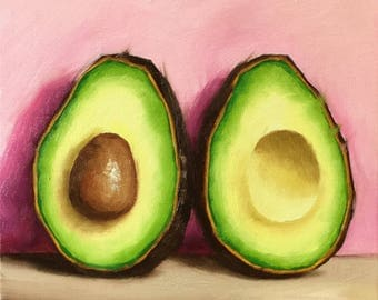 Avocado halves Original Oil Painting still life by Jane Palmer