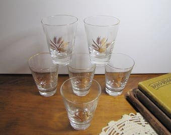 Set of Six (6) Small Heavy Bottom Juice Glasses - Gold Wheat Design