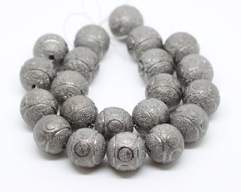 Big Chunky Carved/Etched Gun Metal Beads-Round