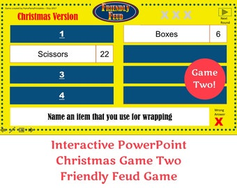 Christmas Friendly Feud GAME TWO- Family Feud - Interactive PowerPoint Game - Christmas Game -  Party Game  -  Family Friendly - Classroom