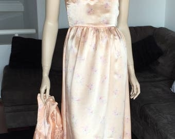 1930's Satin Nightgown and Jacket Small