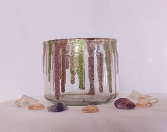Glitter Glass    Gemtone Galaxy    Accented Tumbler Glass Candle Holder    Tealight Holder, Home Decor, Home Decoration