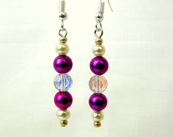 Violet and Crystal Dangle Bead Earrings ~ Handmade ~ Iridescent ~ White Pearlized Beads ~ Drop Earrings ~ Silver Tone Hooks ~ Pierced