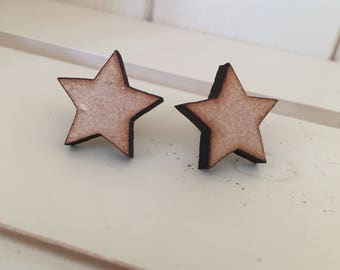 Star Stud Earrings, Star Earrings, Star Studs, Wooden Earrings, Wooden Stars, Wood Star Earrings, Wood Earrings, Stud Earrings, Wooden Stars