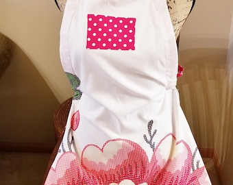 Flower Tea Towel Apron, Red and White Polka Dot, Adjustable Strap Apron, Full Apron, Kitchen Apron, Ready to Ship, MarjorieMae
