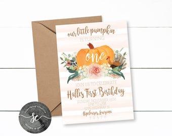 Our Little Pumpkin Birthday Invitation, Our little Turkey, Fall Birthday, Girl Birthday, First Birthday, Our Little Pumpkin is One