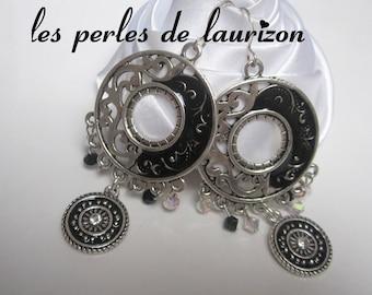Earrings Black Silver meander