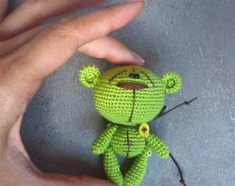 Green Crochet Teddy Bear, Amigurumi bear